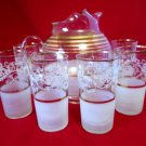 Ball Pitcher Frosted Glasses 7 pc Set Gold Bands
