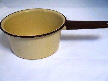 Vintage Enamel Ware Saucepan Tan with Brown Trim
