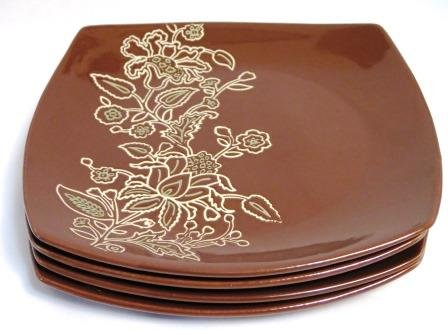 Jaclyn Smith Today Global Floral Square Dinner Plates Set of 4