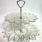 Federal Glass Petal Clear Two Tier Serving Tray