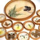 Bamboo Wicker Bar Ware Tray Coaster Set Vintage