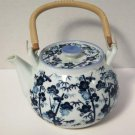 Blue and White Floral Teapot Wrapped Handle