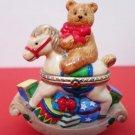 Christmas Bear Rocking Horse Trinket Box Ceramic