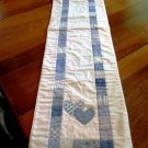 Handcrafted Quilted Table Runner Dresser Scarf Blue Hearts