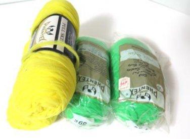 Vintage Phentex Yarn Mint Yellow Celespun 4 Skeins 3 ply