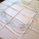 Vintage Embroidered Tablecloth Floral Pattern Crocheted Trim