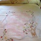 Vintage Embroidered Summer Coverlet Bed Sheet