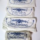 Embroidered Silverware Holders Roll Up Pouches