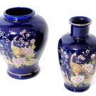 Cobalt Blue Peacock Vase and Ginger Jar Japan