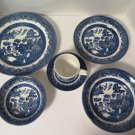 Churchill Blue Willow 6 PC Place Setting Made in England