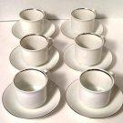 International Ironstone Silver Elegance Cups Saucers Set of 6