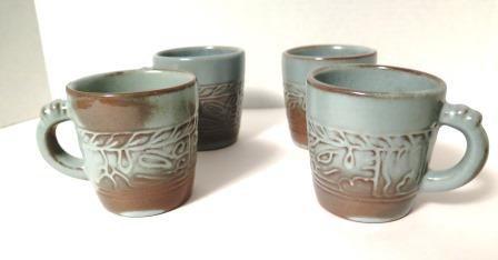 Frankoma Mayan Aztec Prairie Green Mugs 7c Set of 4