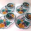 Majolica Snack Set of 4 Italy Pottery