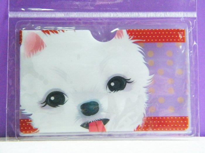 Korean White Puppy Skinny Double Pockets Clear Plastic Card Case