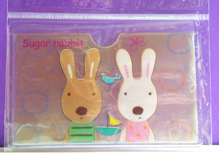 Korean Sugar Bunny Skinny Double Pockets Clear Plastic Card Case