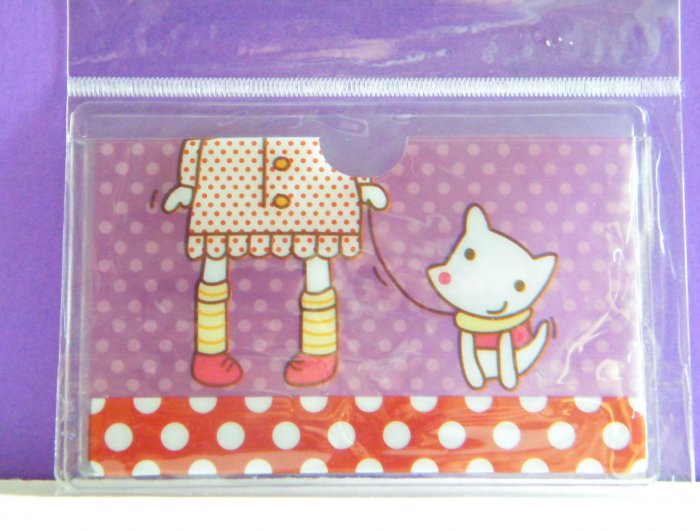 Korean Girl With Dog Skinny Double Pockets Clear Plastic Card Case