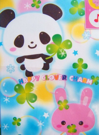 Kawaii Happy Clover Charm Panda And Rabbit Letter Set, Made In Japan