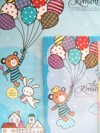 Korean Bear With Balloons Letter Set With Sticker Seals