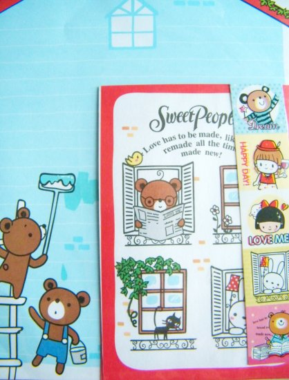 Korean Bear Painting House Letter Set With Sticker Seals