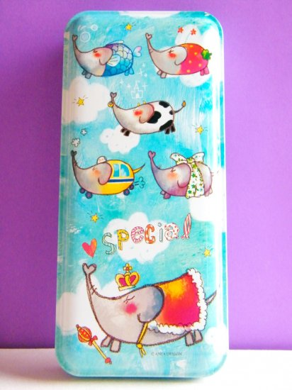 Korean Flying Elephants Metal Pencil Case