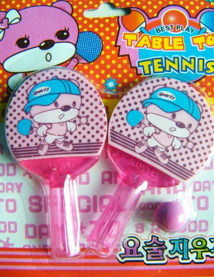 Table Tennis Bear Pencil Toppers/Erasers (Pink)
