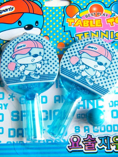 Table Tennis Bear Pencil Toppers/Erasers (Blue)