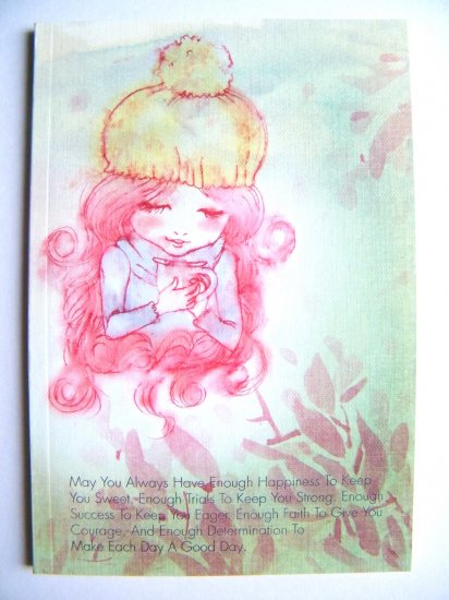 Sweet Girl With Teacup Notebook With Lines ,Made In Korea