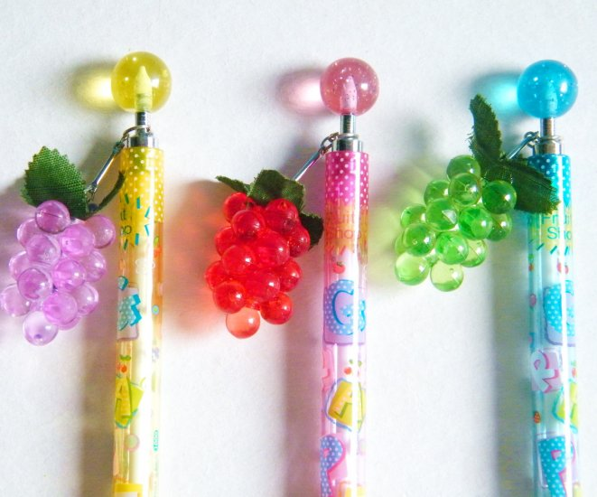 Kawaii Mechanical Pencil With Grape Charm (Choose 1 Out Of 3)