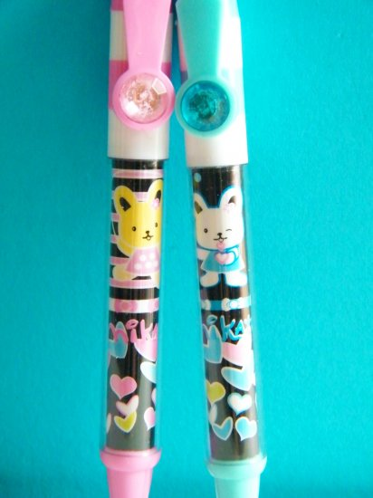 Kawaii Bunny Ballpoint Pen With Blue Ink  - Pink And Blue (Set Of 2)