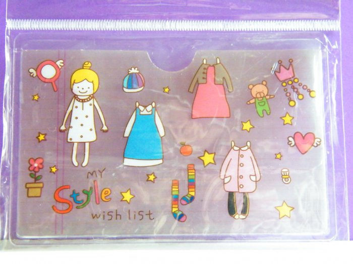 Korean My Style Wish List Skinny Double Pockets Clear Plastic Card Case