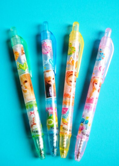 Kawaii Doll Ballpoint Pen With Blue Ink (Set Of 4)