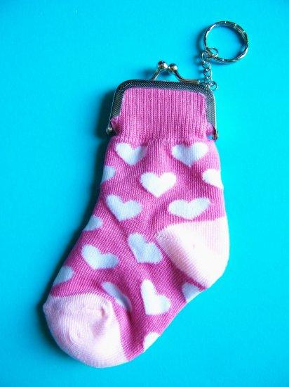 Kawaii Hearts Socks Keychain Purse (Pink)