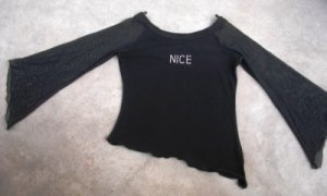 Slinky romantic black women's shirt blouse size 3