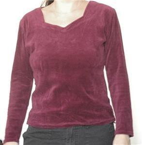 Bourdeaux velvet shirt long sleeves top size 40