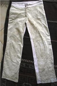 Low rise bright beige women patch pants used SZ s