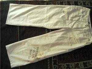 WHITE WOMEN'S CROPPED 3/4 CARGO PANTS TROUSERS sz 1