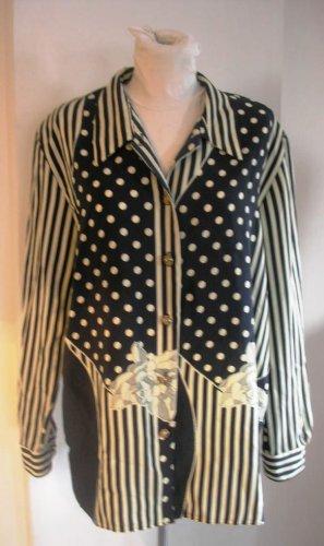 KiWi white blue pop art long sleeves women button front shirt blouse sz M