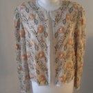 Women romantic top jacket sequins beige flowers sz M