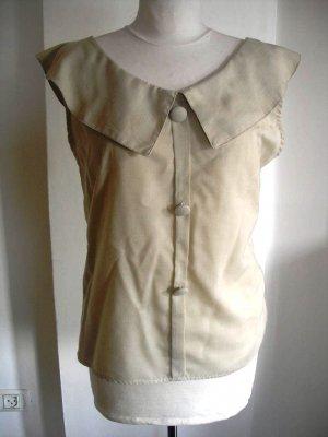 Women's sleeveless cleavage vintage shirt top beige sz S