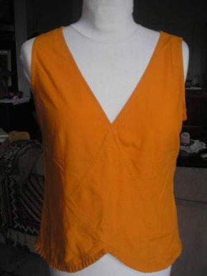 Women's sleeveless v neck shirt top orange sz M
