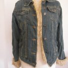 Women denim fashion jean coat jacket faux fur M