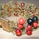 "Fashion Knitted Metal Brown Red Orange New Bracelet 7"""
