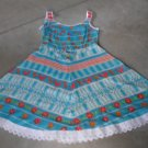 Vintage style petit SHIRI ABRAMSON SVAROVSKY sundress crystals blue white red orange green sz S
