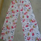 AMICA women pajamas lounge pants floral flowers red pink slim waist sz 30 (38 eur)