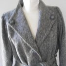 GROSSTEX women medium wool blend tweed tie waist lined coat jacket