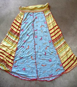 Beautiful women's summer cheery colors blue yellow red stripped S - M skirt