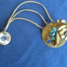 One single boho copper blue white gemstones clip bangle earring, 2 clips earring