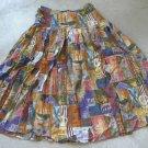 Pleated women's brown beige print S - M skirt