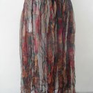 Transparent viscose maroon green flowers print long maxi skirt, elastic waist sz S