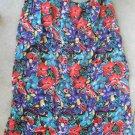 Beautiful multicolor flowers print S-M red blue below knee skirt